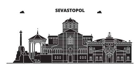 Russia, Sevastopol. City skyline: architecture, buildings, streets, silhouette, landscape, panorama. Flat line vector illustration. Russia, Sevastopol outline design.