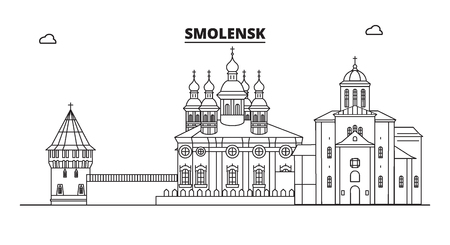 Russia, Smolensk. City skyline: architecture, buildings, streets, silhouette, landscape, panorama, landmarks. Editable strokes. Flat design, line vector illustration concept. Isolated icons