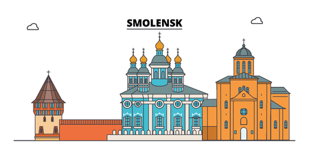 Russia, Smolensk. City skyline: architecture, buildings, streets, silhouette, landscape, panorama. Flat line vector illustration. Russia, Smolensk outline design. Stock Illustratie