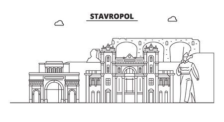 Russia, Stavropol. City skyline: architecture, buildings, streets, silhouette, landscape, panorama, landmarks. Editable strokes. Flat design, line vector illustration concept. Isolated icons