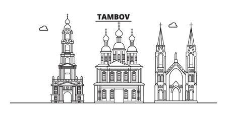 Russia, Tamov. Skyline della città: architettura, edifici, strade, silhouette, paesaggio, panorama, punti di riferimento. Tratti modificabili. Design piatto, concetto di illustrazione vettoriale di linea. Icone isolate