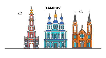 Russia, Tambov. City skyline: architecture, buildings, streets, silhouette, landscape, panorama. Flat line vector illustration. Russia, Tambov outline design.