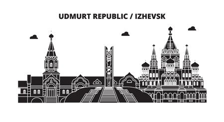 Russia, Udmurt Republic, Izhevsk. City skyline: architecture, buildings, streets, silhouette, landscape, panorama. Flat line vector illustration. Russia, Udmurt Republic, Izhevsk outline design.