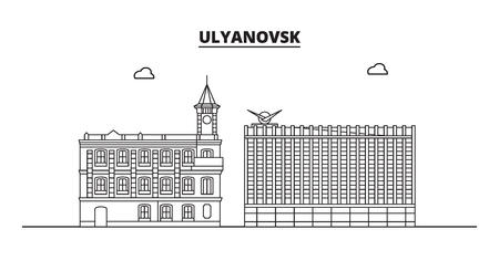 Russia, Ulyanovsk. City skyline: architecture, buildings, streets, silhouette, landscape, panorama, landmarks. Editable strokes. Flat design, line vector illustration concept. Isolated icons