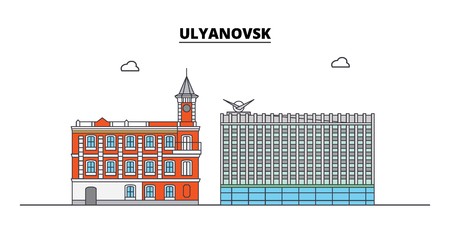 Russia, Ulyanovsk. City skyline: architecture, buildings, streets, silhouette, landscape, panorama. Flat line vector illustration. Russia, Ulyanovsk outline design. Ilustracja