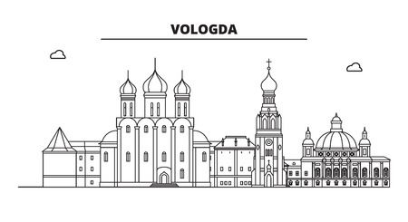 Russia, Vologda. City skyline: architecture, buildings, streets, silhouette, landscape, panorama, landmarks. Editable strokes. Flat design, line vector illustration concept. Isolated icons Ilustrace