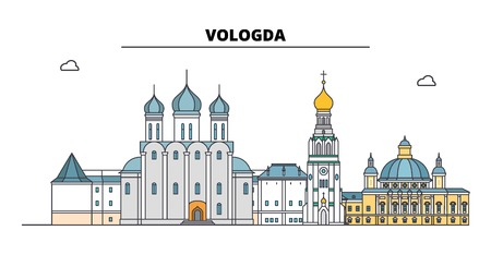 Russia, Vologda. City skyline: architecture, buildings, streets, silhouette, landscape, panorama. Flat line vector illustration. Russia, Vologda outline design. Stock Illustratie