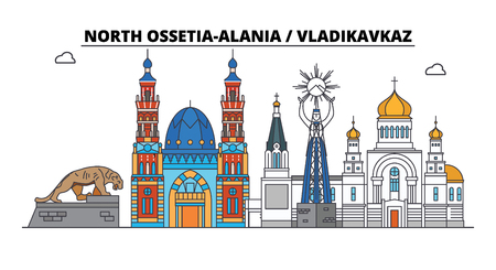 Russia, Vladikavkaz. City skyline: architecture, buildings, streets, silhouette, landscape, panorama. Flat line vector illustration. Russia, Vladikavkaz outline design.