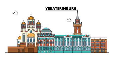 Russia, Yekaterinburg. City skyline: architecture, buildings, streets, silhouette, landscape, panorama. Flat line vector illustration. Russia, Yekaterinburg outline design. 免版税图像 - 116432879