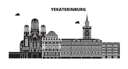 Russia, Yekaterinburg. City skyline: architecture, buildings, streets, silhouette, landscape, panorama. Flat line vector illustration. Russia, Yekaterinburg outline design. Banque d'images - 116432881