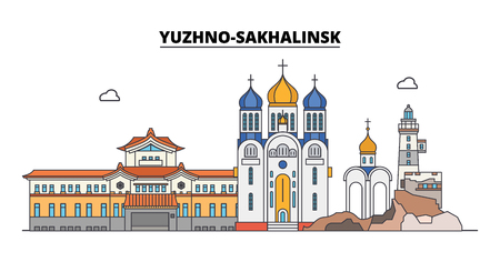 Russia, Yuzhno-Sakhalinsk. City skyline: architecture, buildings, streets, silhouette, landscape, panorama. Flat line vector illustration. Russia, Yuzhno-Sakhalinsk outline design. Illustration