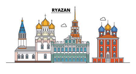 Russia, Ryazan. City skyline: architecture, buildings, streets, silhouette, landscape, panorama. Flat line vector illustration. Russia, Ryazan outline design.