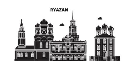 Russia, Ryazan. City skyline: architecture, buildings, streets, silhouette, landscape, panorama. Flat line vector illustration. Russia, Ryazan outline design.