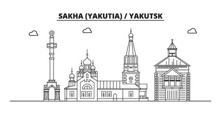 Russia, Sakha Yakutia , Yakutsk. City skyline: architecture, buildings, streets, silhouette, landscape, panorama, landmarks. Editable strokes. Flat design line vector illustration concept