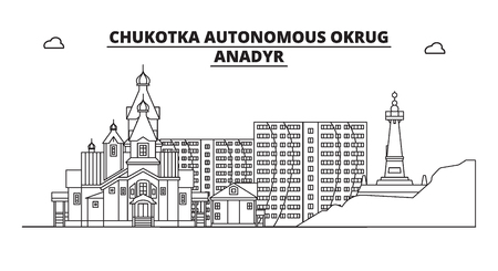 Russia, Chukotka, Anadyr. City skyline: architecture, buildings, streets, silhouette, landscape, panorama, landmarks. Editable strokes. Flat design, line vector illustration concept. Isolated icons