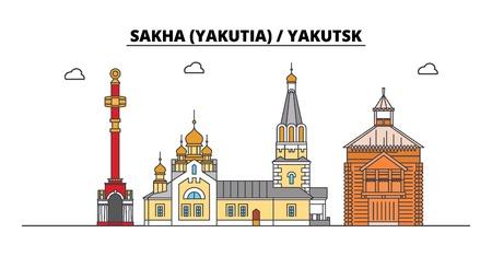 Russia, Sakha Yakutia , Yakutsk. City skyline: architecture, buildings, streets, silhouette, landscape, panorama. Flat line vector illustration. Russia, Sakha Yakutia , Yakutsk outline design. Ilustração