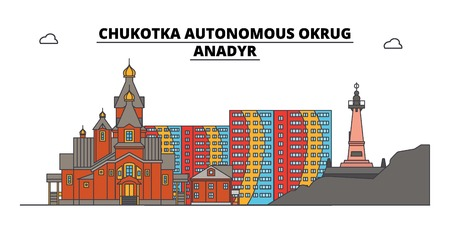 Russia, Chukotka, Anadyr. City skyline: architecture, buildings, streets, silhouette, landscape, panorama. Flat line vector illustration. Russia, Chukotka, Anadyr outline design. 일러스트