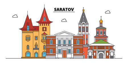 Russia, Saratov. City skyline: architecture, buildings, streets, silhouette, landscape, panorama. Flat line vector illustration. Russia, Saratov outline design. Illustration