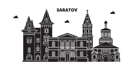 Russia, Saratov. City skyline: architecture, buildings, streets, silhouette, landscape, panorama. Flat line vector illustration. Russia, Saratov outline design.