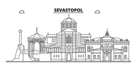 Russia, Sevastopol. City skyline: architecture, buildings, streets, silhouette, landscape, panorama, landmarks. Editable strokes. Flat design, line vector illustration concept. Isolated icons