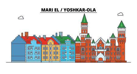 Russia, Mari El, Yoshkar-Ola. City skyline: architecture, buildings, streets, silhouette, landscape, panorama. Flat line vector illustration. Russia, Mari El, Yoshkar-Ola outline design.
