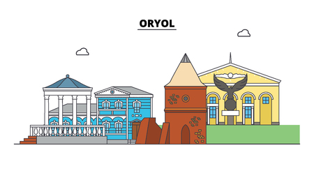 Russia, Oryol. City skyline: architecture, buildings, streets, silhouette, landscape, panorama. Flat line vector illustration. Russia, Oryol outline design. Иллюстрация