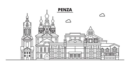 Russia, Penza. City skyline: architecture, buildings, streets, silhouette, landscape, panorama, landmarks. Editable strokes. Flat design, line vector illustration concept. Isolated icons