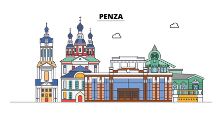 Russia, Penza. City skyline: architecture, buildings, streets, silhouette, landscape, panorama. Flat line vector illustration. Russia, Penza outline design.