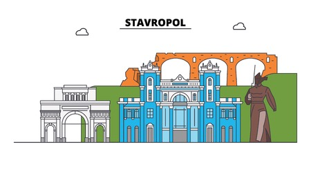 Russia, Stavropol. City skyline: architecture, buildings, streets, silhouette, landscape, panorama. Flat line vector illustration. Russia, Stavropol outline design.