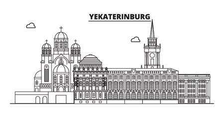 Russia, Yekaterinburg. City skyline: architecture, buildings, streets, silhouette, landscape, panorama, landmarks. Editable strokes. Flat design, line vector illustration concept. Isolated icons Illustration