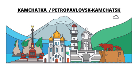 Russia, Petropavlovsk-Kamchatsk. City skyline: architecture, buildings, streets, silhouette, landscape, panorama. Flat line vector illustration. Russia, Petropavlovsk-Kamchatsk outline design.