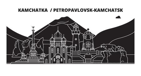Russia, Kamchatka , Petropavlovsk-Kamchatsk. City skyline: architecture, buildings, streets, silhouette, landscape, panorama. Flat line vector illustration.