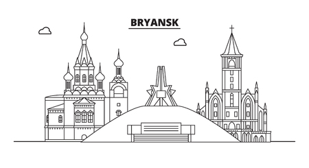 Russia, Bryansk. City skyline: architecture, buildings, streets, silhouette, landscape, panorama, landmarks. Editable strokes. Flat design, line vector illustration concept. Isolated icons Illusztráció