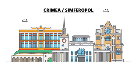 Russia, Crimea, Simferopol. City skyline: architecture, buildings, streets, silhouette, landscape, panorama. Flat line vector illustration. Russia, Crimea, Simferopol outline design.