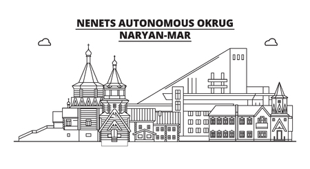Russia, Nenets Autonomous Okrug, Naryan-Mar . City skyline: architecture, buildings, streets, silhouette, landscape, panorama, landmarks. Editable strokes. Flat design line vector illustration concept Ilustração