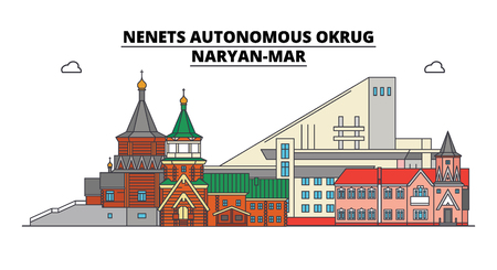 Russia, Naryan-Mar . City skyline: architecture, buildings, streets, silhouette, landscape, panorama. Flat line vector illustration. Russia, Naryan-Mar  outline design.