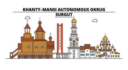 Russia, Surgut . City skyline: architecture, buildings, streets, silhouette, landscape, panorama. Flat line vector illustration. Russia, Surgut  outline design.