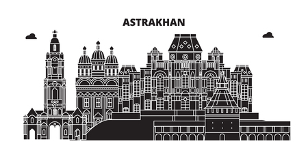 Russia, Astrakhan. City skyline: architecture, buildings, streets, silhouette, landscape, panorama. Flat line vector illustration. Russia, Astrakhan outline design.