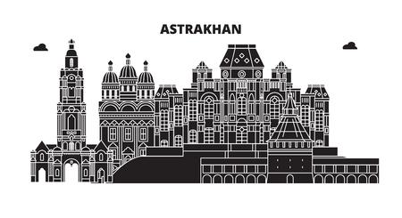 Russia, Astrakhan. City skyline: architecture, buildings, streets, silhouette, landscape, panorama. Flat line vector illustration. Russia, Astrakhan outline design. Banco de Imagens - 116433242