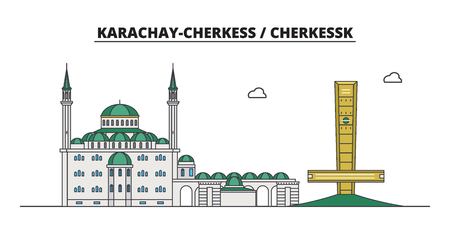 Russia, Cherkessk. City skyline: architecture, buildings, streets, silhouette, landscape, panorama. Flat line vector illustration. Russia, Cherkessk outline design.