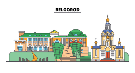 Russia, Belgorod. City skyline: architecture, buildings, streets, silhouette, landscape, panorama. Flat line vector illustration. Russia, Belgorod outline design.