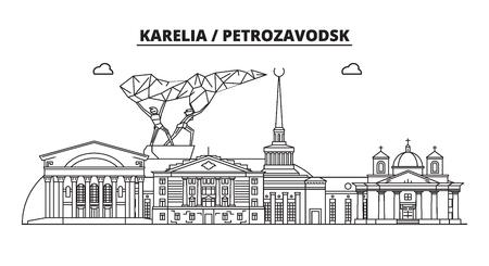 Russia, Karelia, Petrozavodsk. City skyline: architecture, buildings, streets, silhouette, landscape, panorama, landmarks. Editable strokes. Flat design line vector illustration concept Vektoros illusztráció
