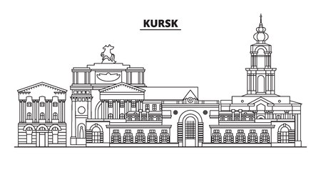 Russia, Kursk. City skyline: architecture, buildings, streets, silhouette, landscape, panorama, landmarks. Editable strokes. Flat design, line vector illustration concept. Isolated icons