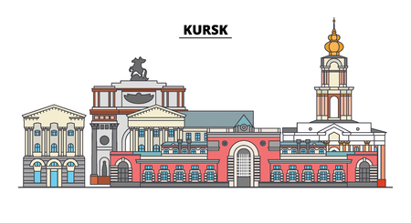 Russia, Kursk. City skyline: architecture, buildings, streets, silhouette, landscape, panorama. Flat line vector illustration. Russia, Kursk outline design. Çizim