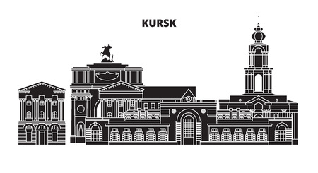 Russia, Kursk. City skyline: architecture, buildings, streets, silhouette, landscape, panorama. Flat line vector illustration. Russia, Kursk outline design.  イラスト・ベクター素材