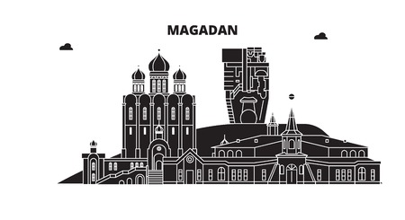 Russia, Magadan. City skyline: architecture, buildings, streets, silhouette, landscape, panorama. Flat line vector illustration. Russia, Magadan outline design. Illustration
