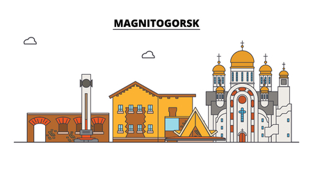 Russia, Magnitogorsk. City skyline: architecture, buildings, streets, silhouette, landscape, panorama. Flat line vector illustration. Russia, Magnitogorsk outline design. Illustration