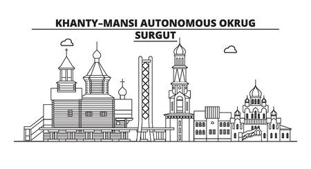 Russia, Surgut . City skyline: architecture, buildings, streets, silhouette, landscape, panorama, landmarks. Editable strokes. Flat design line vector illustration concept