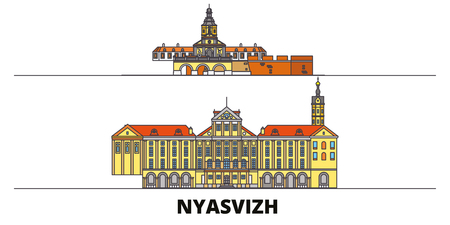 Belarus, Nyasvizh flat landmarks vector illustration. Belarus, Nyasvizh line city with famous travel sights, design skyline.  イラスト・ベクター素材