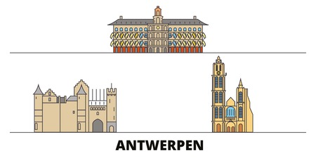 Belgium, Antwerpen flat landmarks vector illustration. Belgium, Antwerpen line city with famous travel sights, design skyline.  イラスト・ベクター素材